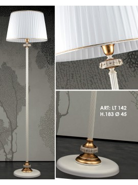 Classic floor lamp in white wrought iron and porcelain 1 light pre Lt 142