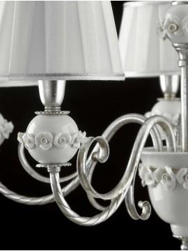 Lampadario in ferro battuto foglia argento 5 luci LS 150/5