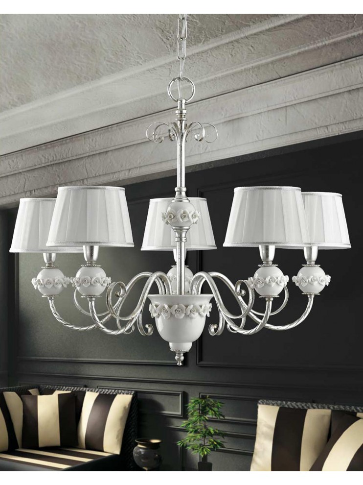 Wrought iron chandelier with silver leaf 5 lights LS 150/5