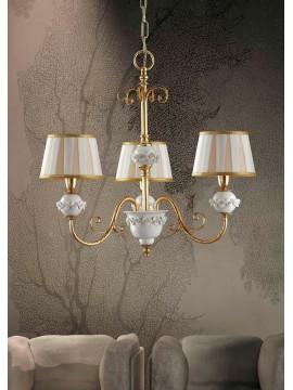 Lampadario classico in ferro battuo foglia oro 3 luci LS 150/3
