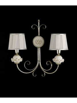 Classic wall light in wrought iron silver leaf porcelain ap 150/2