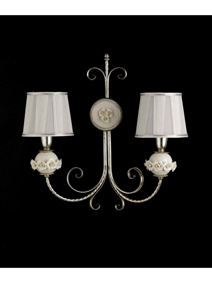Applique classico in ferro battuto porcellana foglia argento 2 luci ap 150/2