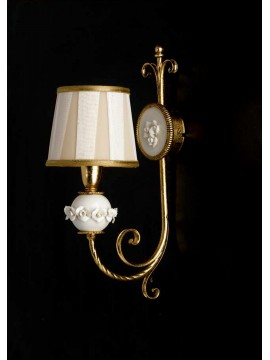 Classic applique in wrought iron porcelain gold leaf ap 150/1