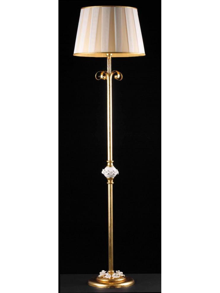 Piantana classica foglia oro e porcellana 1 luce Lt 150