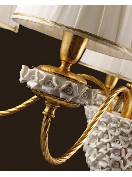 Classic chandelier in gold leaf porcelain 5 lights Ls 154/5
