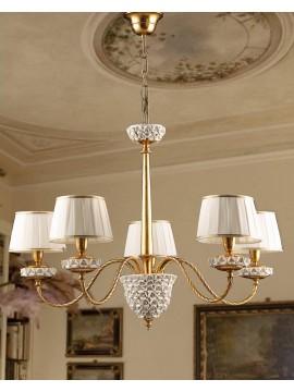 Lampadario classico in foglia oro porcellana 5 luci Ls 154/5