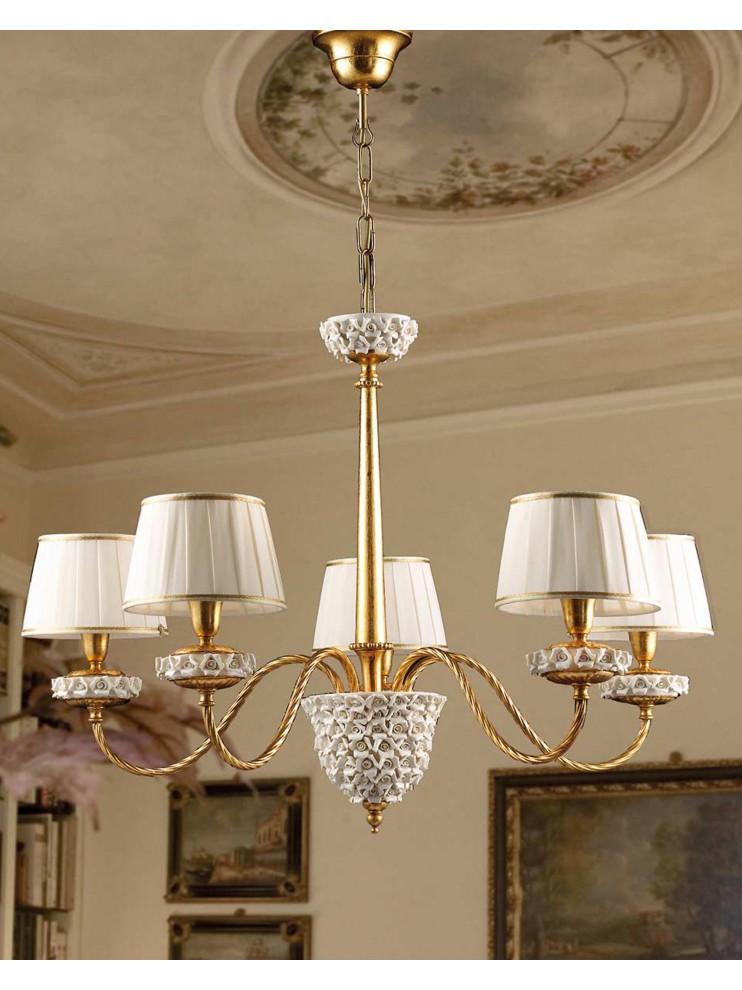 Classic chandelier in gold leaf porcelain 5 lights Ls 154/5