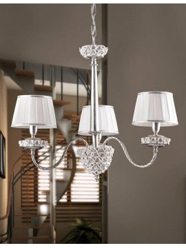 Wrought iron chandelier silver leaf 3 lights Ls 154/3