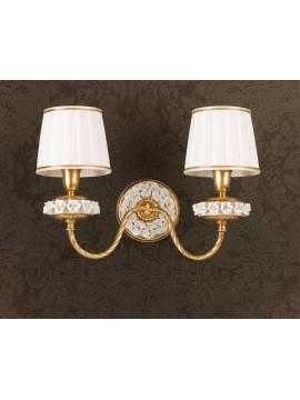 Applique classico in foglia oro e porcellana 2 luci Ap 154/2