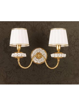 Classic wall lamp in gold leaf and porcelain 2 lights Ap 154/2