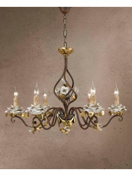 Classic chandelier in wrought iron 6 leaf gold lights LS 141/6