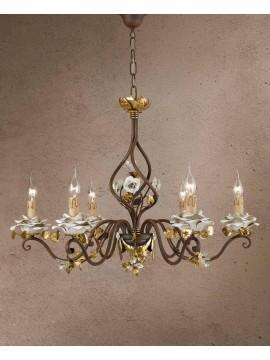 Lampadario classico in ferro battuto foglia oro 6 luci LS 141/6