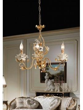 Lampadario classico in ferro battuto foglia oro 3 luci LS 141/3