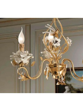 Classic chandelier in wrought iron gold leaf 3 lights LS 141/3