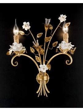 Applique classico ferro battuto porcellana foglia oro 2 luci Ap 141/2