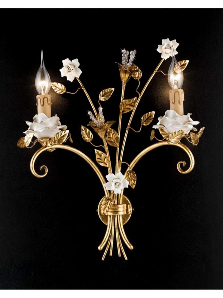 Classic applique wrought iron porcelain gold leaf 2 lights Ap 141/2