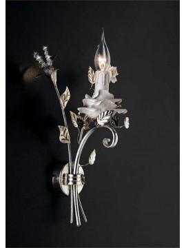 Applique in ferro battuto porcellana foglia argento 1 luce Ap 141/1