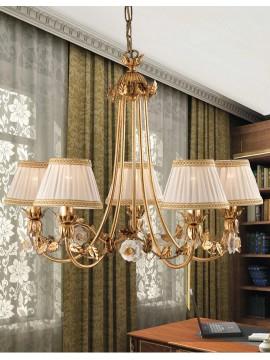 Lampadario classico ferro battuto foglia oro 5 luci LS 122/5