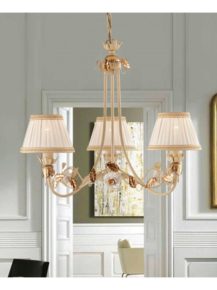 Classic chandelier wrought iron ivory-gold 3 lights LS 122/3