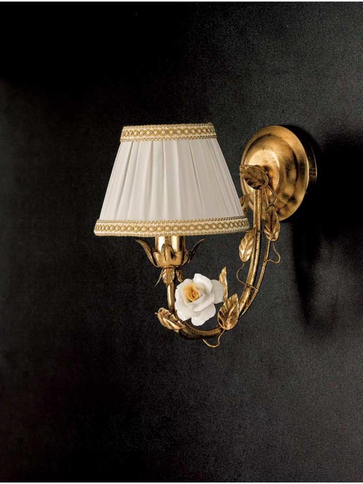 Applique classico ferro battuto porcellana foglia oro 1 luce Ap 122/1p