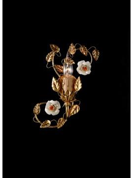 Applique classico ferro battuto porcellana foglia oro 1 luce ap 122/1