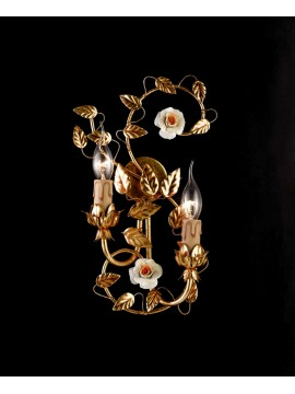 Applique classic wrought iron porcelain gold leaf 2 lights ap 122/2