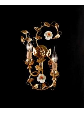 Applique classico ferro battuto porcellana foglia oro 2 luci ap 122/2