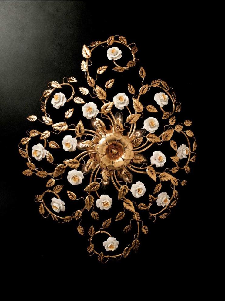 Plafoniera classica in ferro battuto foglia oro 8 luci PL 122/80ov