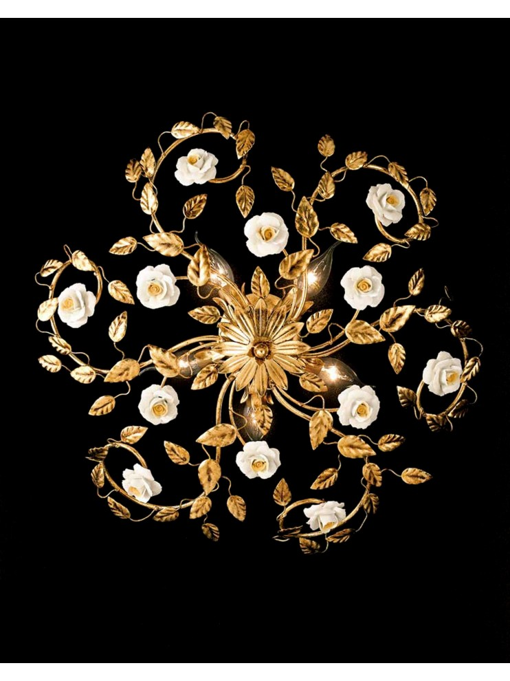 Classic ceiling lamp in wrought iron 5 light gold leaf PL 122/50