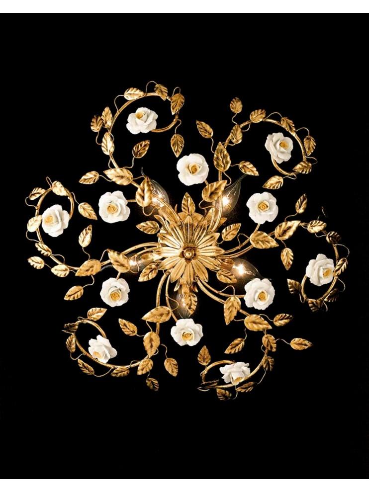 Plafoniera classica in ferro battuto foglia oro 5 luci PL 122/50