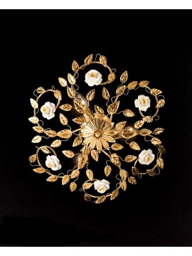 Plafoniera classica in ferro battuto foglia oro 3 luci PL 122/40