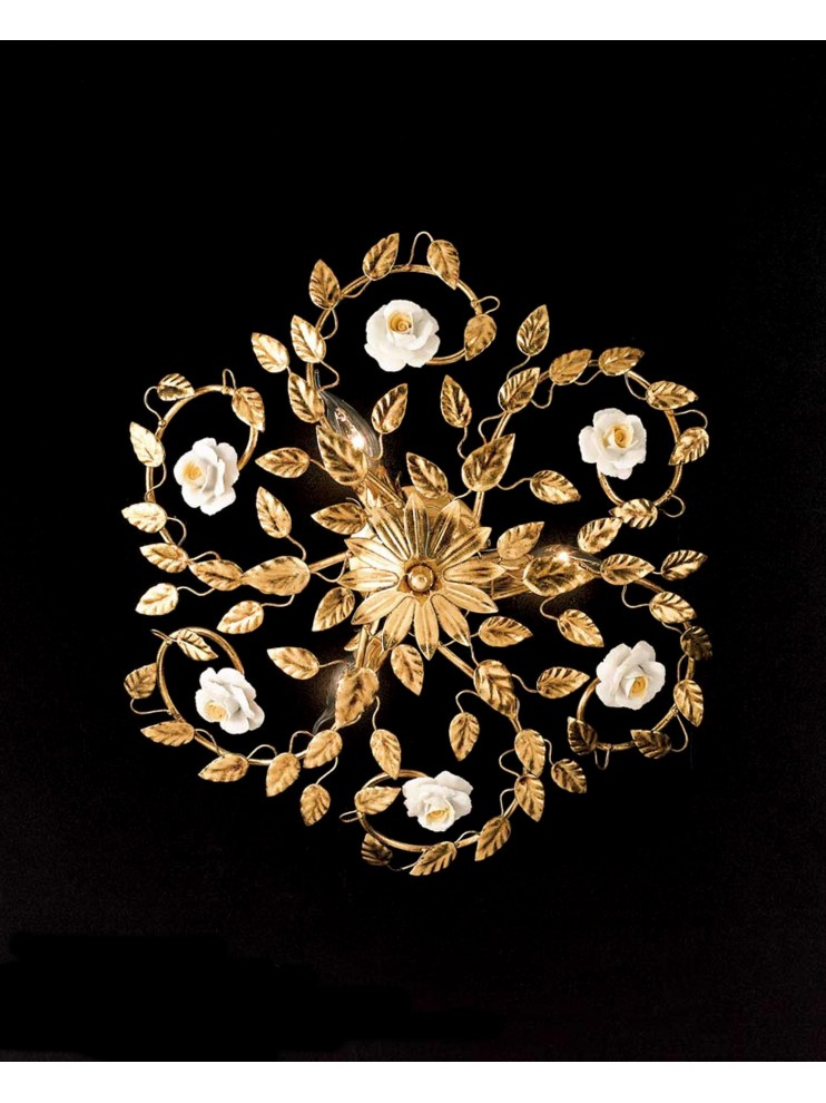 Classic ceiling lamp in wrought iron 3 light gold leaf PL 122/40
