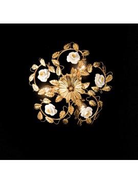 Plafoniera classica in ferro battuto foglia oro 3 luci PL 122/30