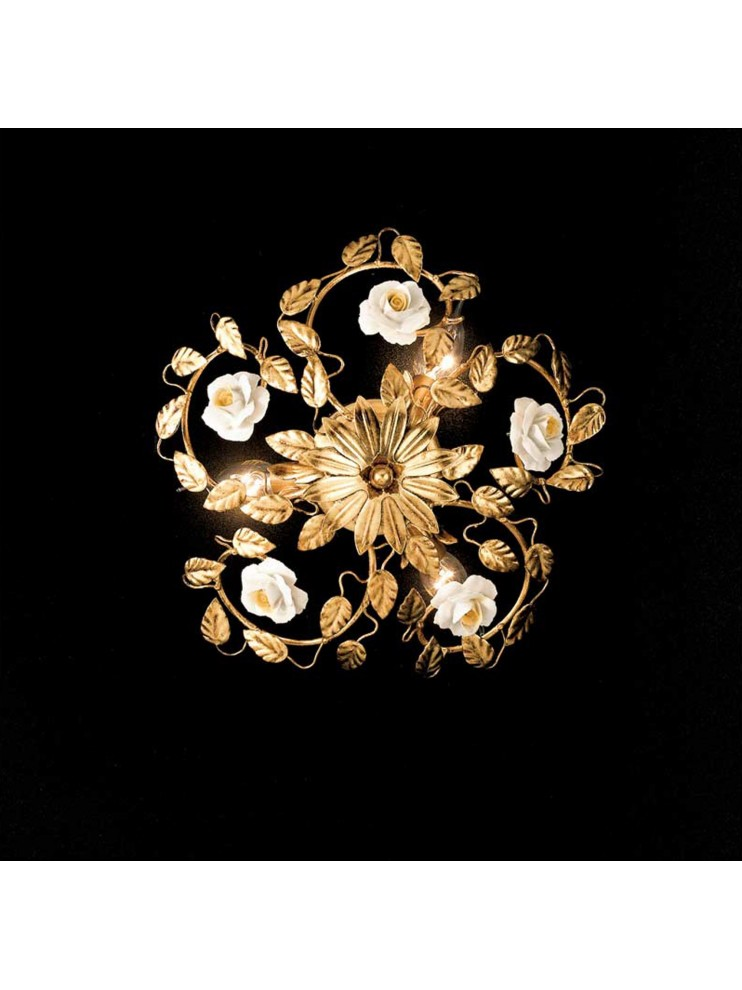 Classic ceiling lamp in wrought iron, gold leaf 3 lights PL 122/30