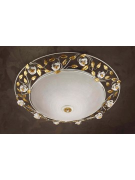 Classic wrought iron ceiling light and porcelain 2 lights Pl 122 / 60v