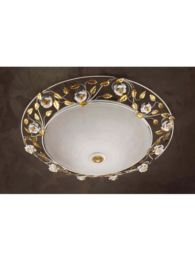 Plafoniera classica ferro battuto e porcellana 2 luci Pl 122/60v