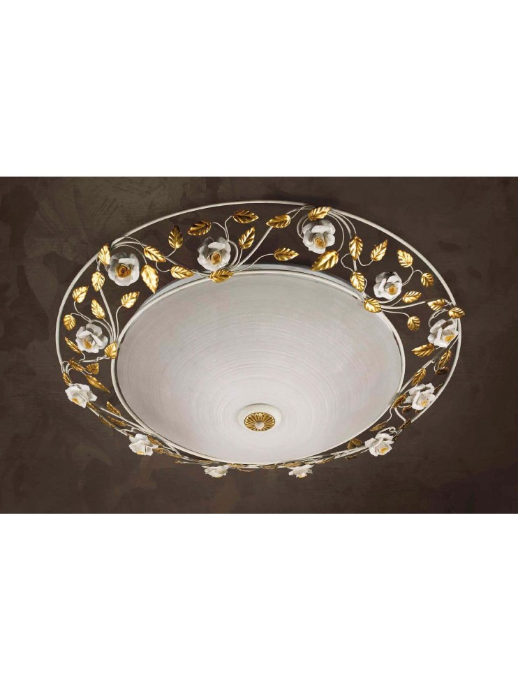 Classic ceiling lamp in wrought iron and 3 lights glass Pl 122 / 70V