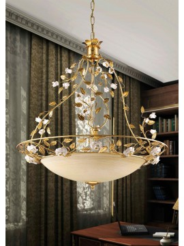 Classic chandelier in gold leaf and porcelain 3 lights So 122 / 60v