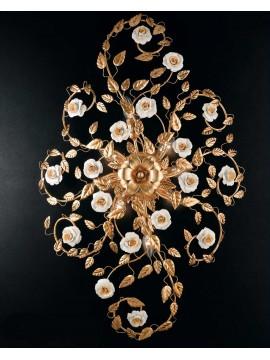 Plafoniera in ferro battuto foglia oro porcellana 8 luci Pl 122/100OV