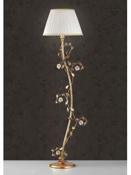 Piantana classica ferro battuto foglia oro e porcellana 1 luce Lt 122