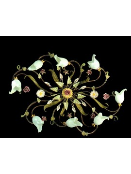 Classic ceiling lamp in wrought iron roses and calla lights 8 lights BGA 709/8