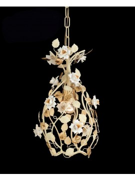 Classic chandelier 1 light cream and gold with porcelain pre Ing 139