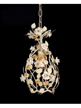 Lampadario classico 1 luce panna e oro con porcellana pre Ing 139
