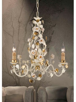 Classic chandelier in wrought iron 3 light gold cream LS 139/3