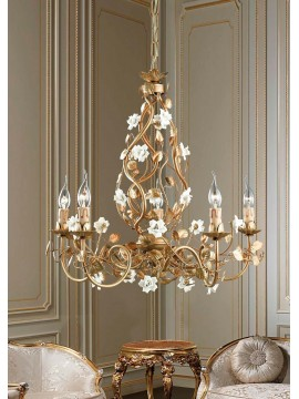 Lampadario classico in ferro battuto oro 5 luci LS 139/5