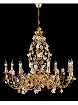 Lampadario classico in ferro battuto oro e porcellana LS 139/8