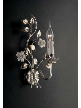 Classic wrought iron wall light and silver leaf porcelain Ap 139/1