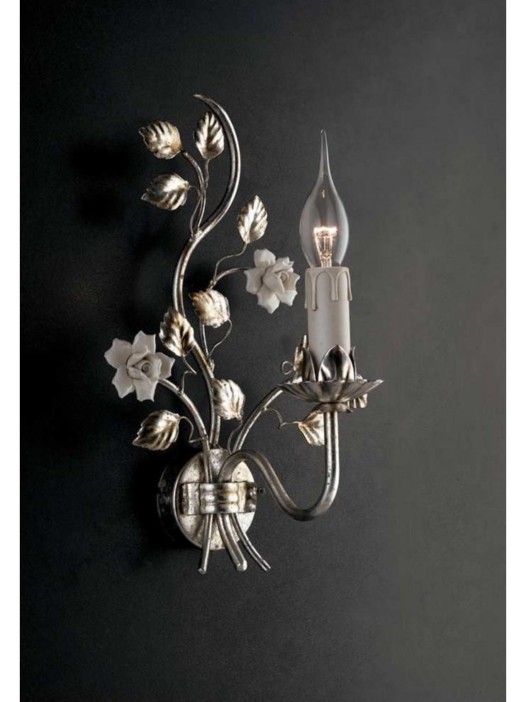 Applique classico ferro battuto e porcellana foglia argento Ap 139/1