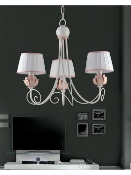 Lampadario classico in ferro battuto bianco e rosa 3 luci Ls 163/3