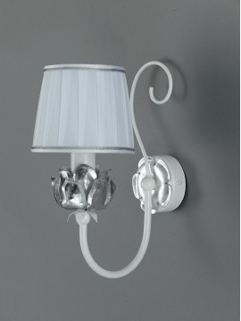 Classic applique in white and silver wrought iron 1 light Ap 163/1